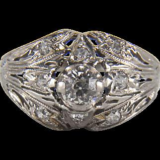 Art Deco 0.45 Carat 18K White Gold Diamond Filigree Coocktail Ring