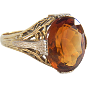 Art Deco Signed Lafayette Manufacturing Co Filigree Citrine 14K Two Toned Yellow and White Gold Ring