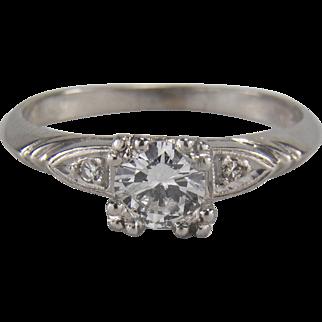 0.41 Carat Platinum Art Deco Diamond Engagement Ring