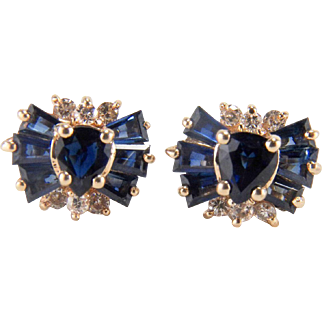 Sparkling Sapphire and Diamond Cluster 14K Yellow Gold Pierced Earrings