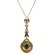 Art Deco Blue Topaz Lavalier Pendant 10K Yellow Gold Necklace