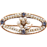 Romantic Victorian Diamond, Seed Pearl, Blue Spinel 10K Rose Gold Pin