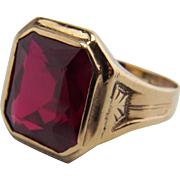 Art Deco Men's Style 10K Yellow Gold Synthetic Ruby Ring