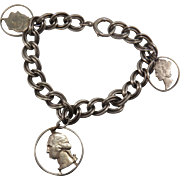 Vintage Sterling Silver Bracelet With US Quarter, US Dime, and US Mercury Dime Cut Out Charms