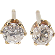 0.30 Carat Vintage 14K Yellow Gold Diamond Stud Earrings