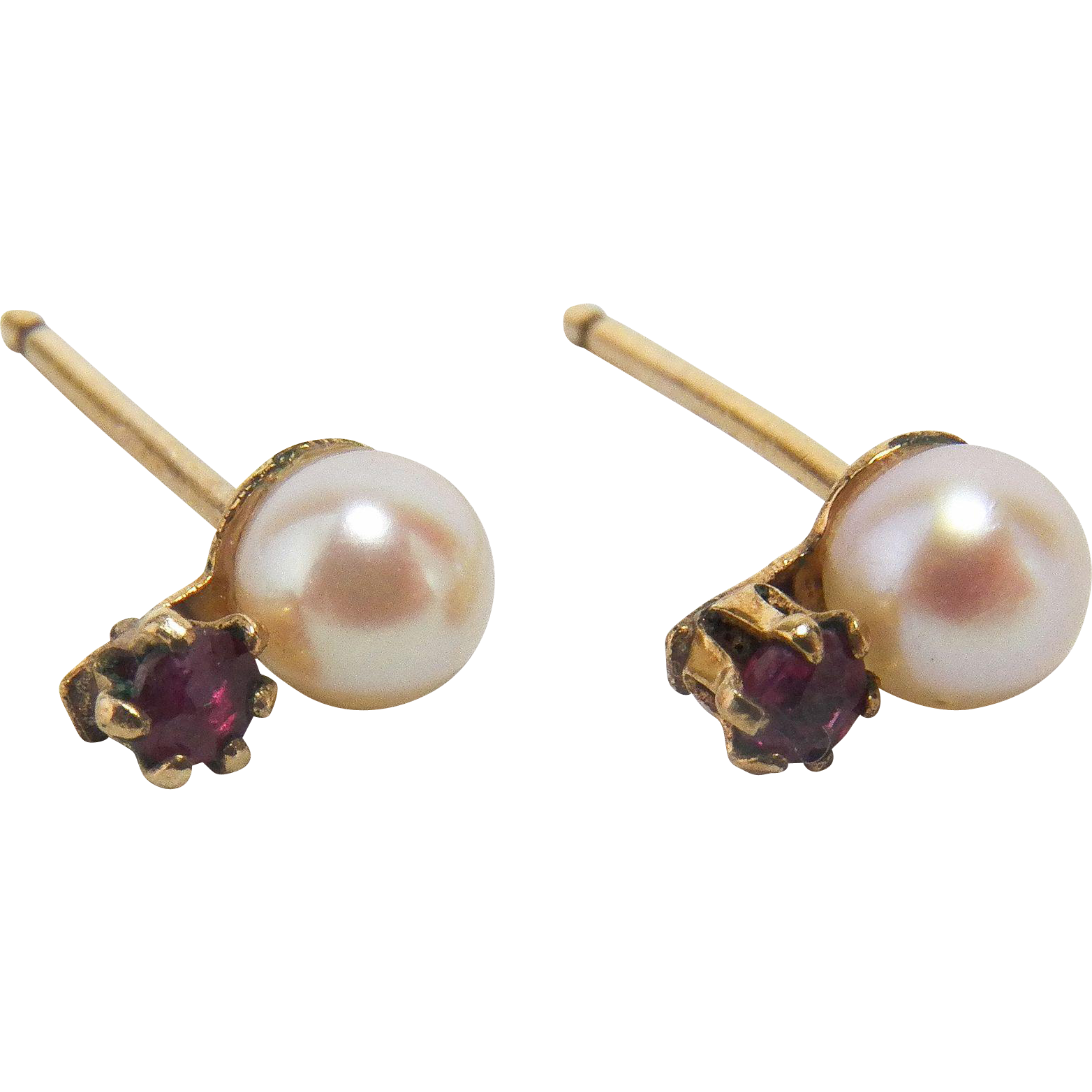 Pink Spinel and Cultured Pearl 14K Yellow Gold Earrings