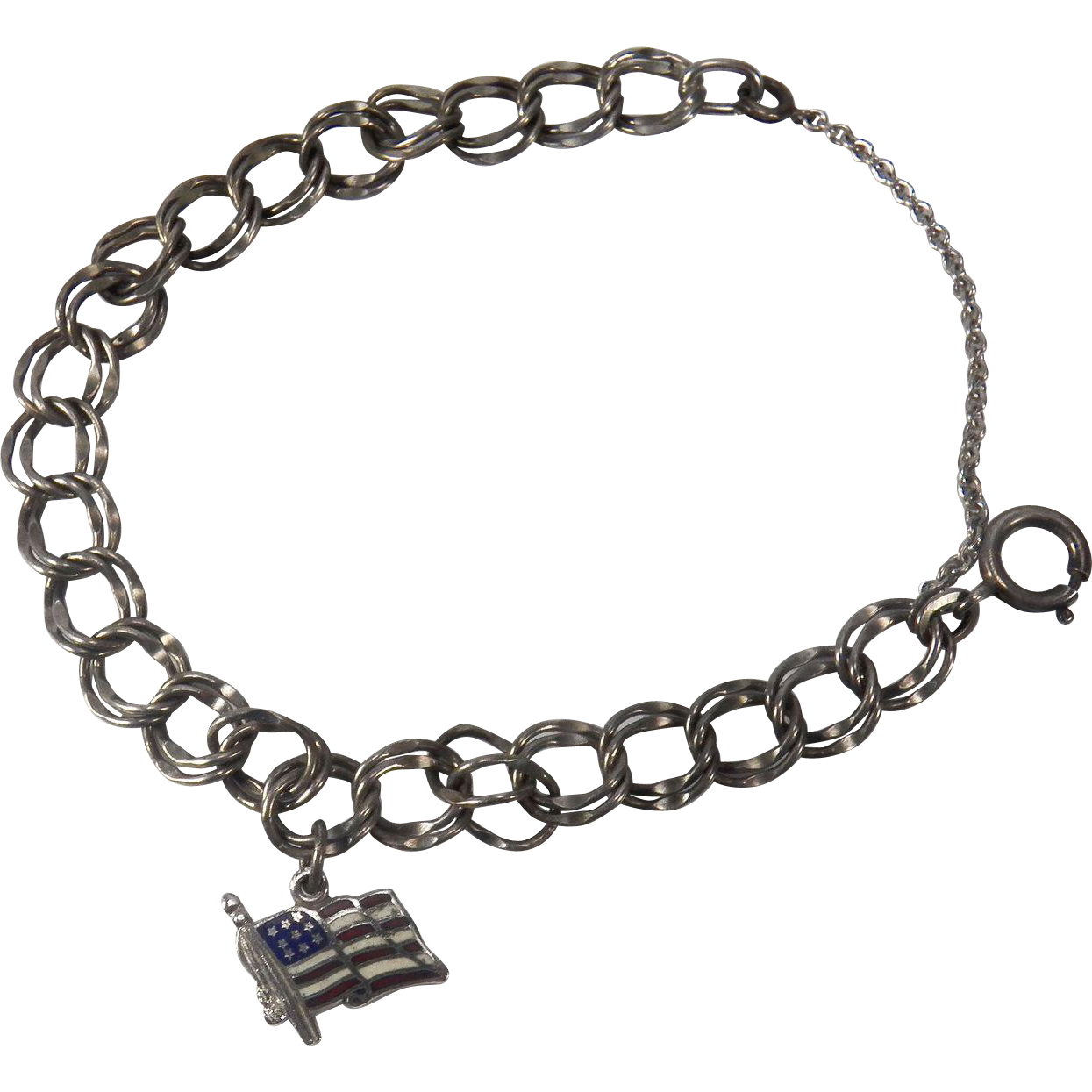 Sterling Silver Starter Double Link Charm Bracelet with American Flag Charm