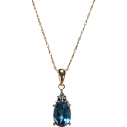 Blue Topaz and Diamond Pendant 14K Yellow Gold Necklace