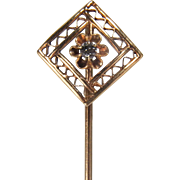 Victorian Geometric Diamond Shaped with Belcher Set Diamond 10K Yellow Gold Stick Pin
