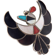Large Native American Vintage  Artist Signed Zuni Thunderbird Inlay Work Sterling Silver Ring