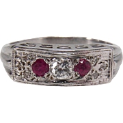 Art Deco Ruby and Diamond 14K White Gold Stacking Ring - Red Tag Sale Item