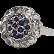 Cool Vintage Moonstone and Sapphire Flower Cluster Design 14K White Gold Dinner Ring