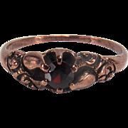 Victorian Belcher Set Garnet 14K Rose Gold Ring
