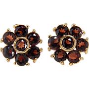 Sparkling Vintage Garnet Cluster Floral Design 14K Yellow Gold Pierced Style Earrings