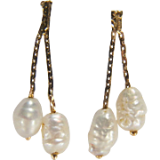 Fun Vintage Dangling Chain Style Freshwater Pearl Pierced 14K Yellow Gold Earrings