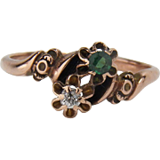 Victorian Old Mine Cut Diamond and Emerald Paste Detailed 10K Yellow Gold Ring
