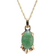 Vintage Jade Cabochon Pendant 14K Yellow Gold Necklace