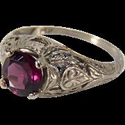 Art Deco Pink Tourmaline Filigree 14K White Gold Ring