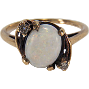 Art Deco White Opal and Diamond 10K Yellow Gold Ring