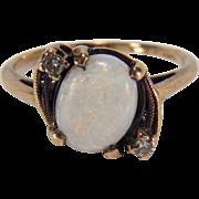 Art Deco White Opal and Diamond 10K Yellow Gold Ring