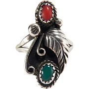 Vintage Navajo Native American Turquoise and Coral Sterling Silver Ring