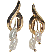 Vintage Cute Freshwater Pearl 14K Yellow Gold Pierced Style Earrings