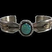 Vintage Navajo Wes Craig Opal 12K Gold Filled Overlay Sterling Cuff Bracelet