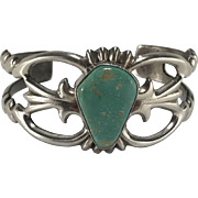 Vintage Navajo F.L. Begay Turquoise Sterling Silver Cuff Bracelet