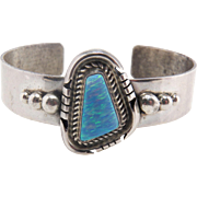Vintage Navajo Signed Charles Johnson Sterling Sterling Silver Synthetic Opal Cuff Bracelet