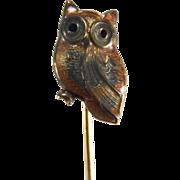 Vintage Enamel Sterling Goldwash Owl Stick Pin