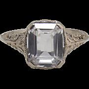 Antique Art Nouveau Emerald Cut White Sapphire Filigree 14K White Gold Ring