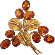 Lovely Retro Madera Citrine 18K Yellow Gold Floral Design Custom Pin