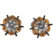 Cool Retro Vintage 1/2 Carat Diamond Stud 14K Yellow and White Gold Earrings