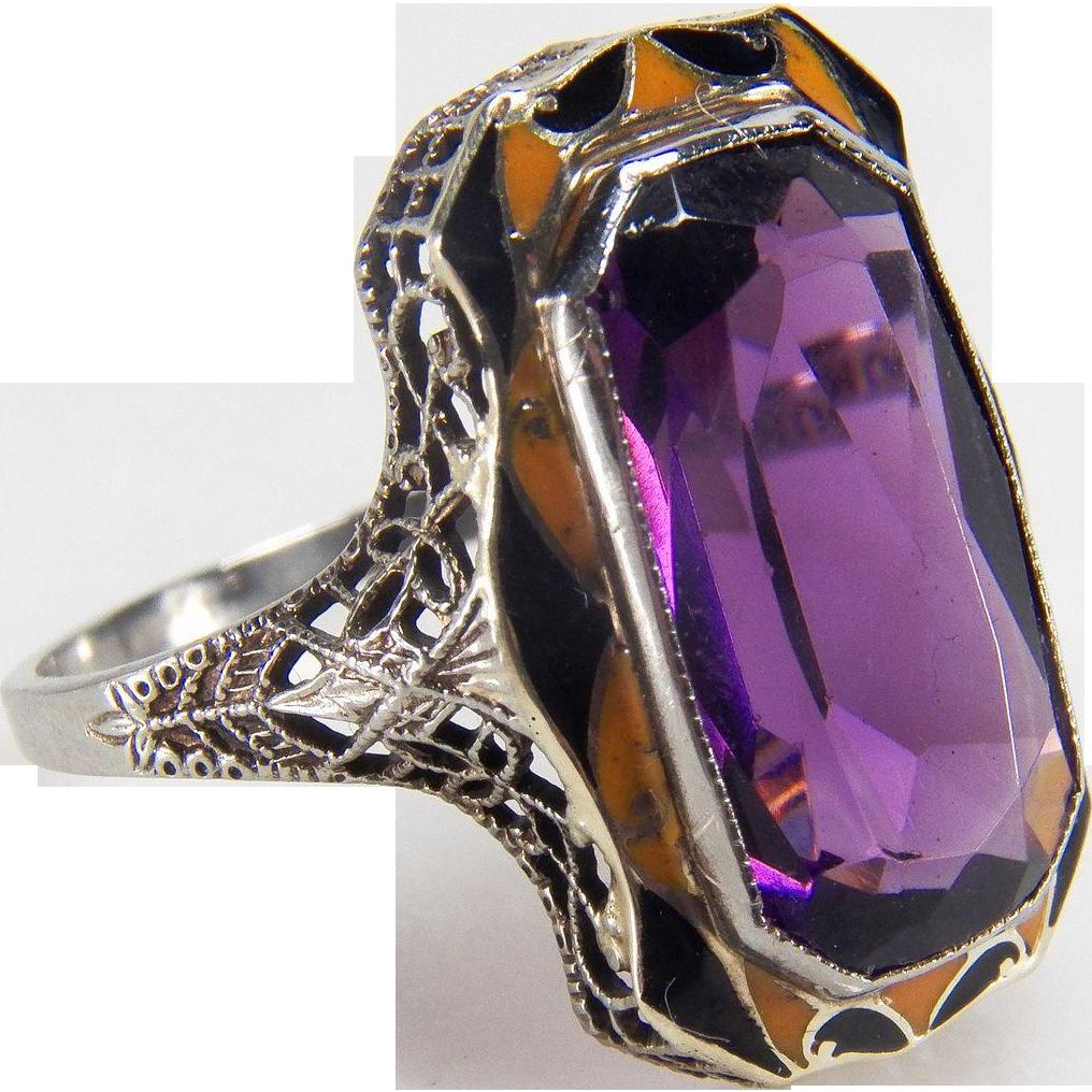 Art Deco Enamel Detailed Dark Purple Synthetic Amethyst Filigree 10K White Gold Ring