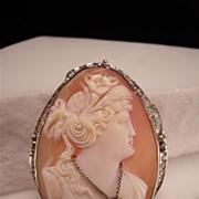 Vintage 14K White Gold Teardrop Cameo Brooch & Pendant