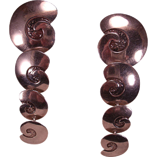 Sterling Silver Handmade Articulated Swirl Earrings
