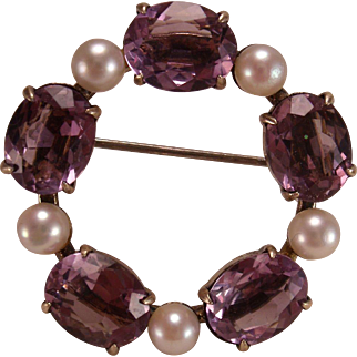 SYMMETALIC  Sterling Silver / Gold Amethyst and Pearl Wreath Brooch