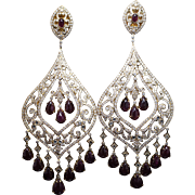 Ornate High Grade Natural Ruby & Diamond Drop Dangle Earrings in 18k Yellow Gold Intricate Jewelry