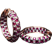 High Grade Natural Diamond & Ruby Hoop Earrings in 18k Rose Gold