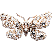 Rose & Round Cut Diamond Butterfly Cocktail Ring in 18k Rose Gold