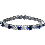 Natural Ceylon Sapphire & Diamond Tennis Bracelet 18k White Gold