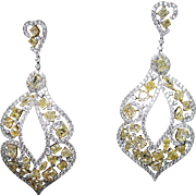 35.17CTW Fancy Yellow Diamond Mix Drop Dangle Earrings in 18k Yellow Gold - Includes Cushion, Triangle, Marquise Cut Diamonds