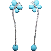 Persian Turquoise & Diamond Butterfly Dangle Earrings 18k White Gold