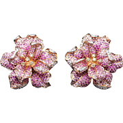 Ornate Pink Sapphire Yellow Diamond Accent Flower Stud Earrings in 18k Rose Gold
