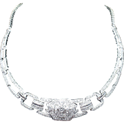Retro Style Diamond Bib Necklace in 18k White Gold