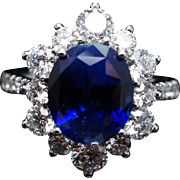 4.79CT Oval Natural Ceylon Sapphire Cocktail Ring in 18k White Gold
