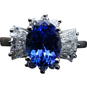 Modern Tanzanite Ballerina Cocktail Ring in 18k White Gold