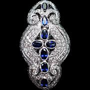 Art Deco Style Sapphire Cross & Diamond Cocktail Ring in 18k White Gold