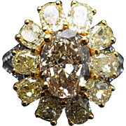 6.72CTW Natural Oval Cognac & Cushion Cut Yellow Diamond Flower Cocktail Ring in 18k White Gold
