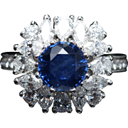 Round Sapphire & Mixed Diamond Ballerina Cocktail Ring in 18k White Gold